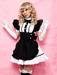 Sweet Girl Preto avental branco de poliéster Maid Uniform