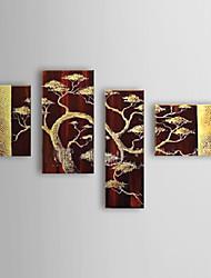 Hand geschilderd olieverfschilderij Botanische Boom met gestrekte frame set van 4 1308-FL0742