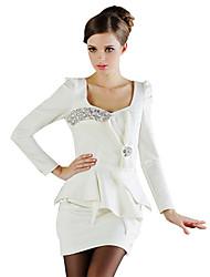 Jin Jimeng Frauen elegante Wide Neck Hauchhülsenkleid