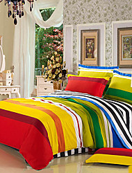 4-Piece 100% Cotton Modern Style Rainbow Sugar Print Duvet Cover Set
