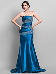 TS Couture® Formal Evening / Military Ball Dress - Open Back Plus Size / Petite Trumpet / Mermaid Strapless Sweep / Brush Train Stretch Satin