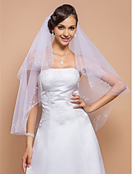 Gorgeous Two-tier Fingertip Wedding Veil With Beaded Edge And Pearls