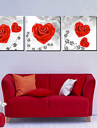Stretched Canvas Art Floral Red Rose Romance Set of 3