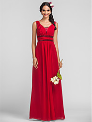 Bridesmaid Dress Floor Length Chiffon Sheath Column Straps Dress (568049)