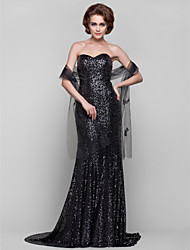 Lanting Sheath/Column Plus Sizes / Petite Mother of the Bride Dress - Black Sweep/Brush Train Sleeveless Sequined