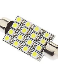 Festoon 41 milímetros 1.5W 16xSMD3528 White Light Bulb LED para lâmpada de leitura do carro (12V)