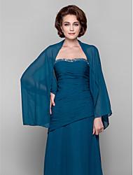 Women's Wrap Coats/Jackets Long Sleeve Chiffon Ink Blue Wedding / Party/Evening / Casual Scoop Draped Open Front