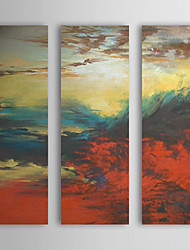 Hand Painted Oil Painting Abstract With Stretched Frame Set of 3 1308-AB0553