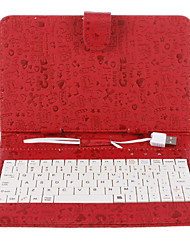 7 Inch Graffity Scrawling Pattern PU Case with USB Keyboard and Stand