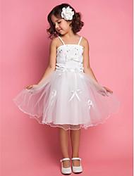 A-line/Princess/Ball Gown Knee-length Flower Girl Dress - Satin/Organza Sleeveless