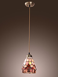 40W tradicional Pendant Light Tiffany com Sombra Vitral em Design Floral