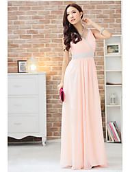 Sexy rosa V Neck Diamante di vacanza della signora Women cinghie vestito da partito lungo