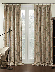 (One Pair) Country Blooming Floral Blackout Curtain