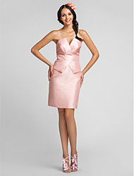 LAN TING BRIDE Knee-length Taffeta Bridesmaid Dress - Sheath / Column V-neck Plus Size / Petite