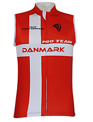 Kooplus2013 Championship Jersey Denmark 100% Polyester Wicking Fibers Sleeveless Cycling Vest with Reflective Tape