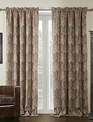(One Panel) Country Floral Jacquard Blackout Curtain