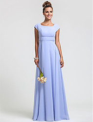 Lanting Bride® Floor-length Chiffon Bridesmaid Dress - Sheath / Column Square Plus Size / Petite