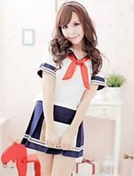 Innocent Girl White Cotton Top Ink Blue Polyester Skirt School Uniform