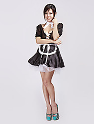 Sexy Lingerie Black Cute Lace Up French Maid  Halloween Costume(4Pieces)