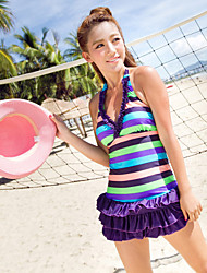Stripe Splice Fold Spa Swimsuit