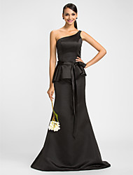 Dress Trumpet / Mermaid One Shoulder Floor-length Satin with Bow(s) / Ruffles / Sash / Ribbon