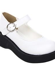 Handmade White PU Leather 5cm Platform Classic Lolita Shoes