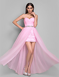 Sheath/Column Sweetheart Tulle And Lace Evening/Prom Dress(612417)