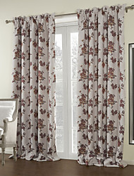 Two Panels Floral Country Blackout Curtain