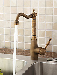 Antique Bar/­Prep Deck Mounted Rotatable with  Ceramic Valve Single Handle One Hole for  Antique Brass , Kitchen faucet