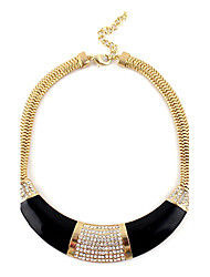 Exaggerate Half-Circle Diamond Inlaid Golden Chain Necklace