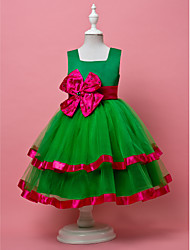 A-line Sleeveless Tulle/Satin Wedding/Evening Flower Girl Dress