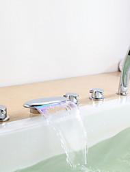 Contemporaine Trois poignées LED robinet de baignoire avec douche à main cinq trous