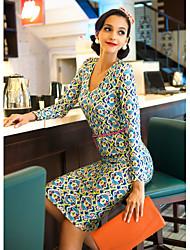 TS VINTAGE Print tiefer V Jersey-Kleid