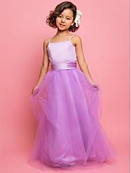 A-line Floor-length Flower Girl Dress - Tulle/Satin Sleeveless