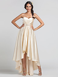 Homecoming Dress - Champagne Sheath/Column Sweetheart Asymmetrical Stretch Satin