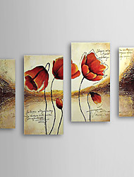 Hand Painted Oil Painting Floral with Stretched Frame Set of 4 1308-FL0588