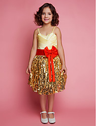 Ball Gown Knee-length Flower Girl Dress - Lace Satin Spaghetti Straps with Bow(s) Side Draping Criss Cross Sequins