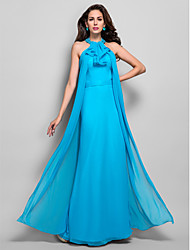 Sheath / Column High Neck Floor Length Chiffon Evening Dress with Beading by TS Couture®