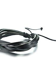 Mens Pulsera - cuero trenzado pulsera ajustable