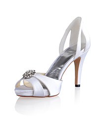 Bridal Satin Stiletto Sandals with Rhinestone and Hollow-out Wedding/Special Occasion Shoes(More Colors)