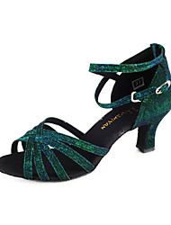 Non Customizable Women's Dance Shoes Latin/Ballroom Sparkling Glitter Flared Heel Green/Fuchsia