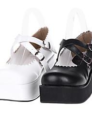 Festoneado ajuste PU cuña de 6 cm Classic Zapatos Lolita con la cruz de la correa
