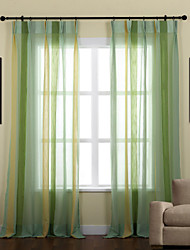 (Two Panels) Natural Striped Mediterranean Sheer Curtain
