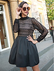 TS High Neck Langarm Kleid