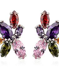 S&V Women's Floral Hand Made Zircon Crystal Stud Earrings
