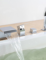 Contemporary Wall Mounted Waterfall with  Ceramic Valve Two Handles Four Holes for  Chrome , Bathtub Faucet
