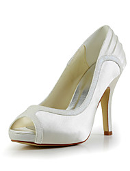 Women's Summer Fall Satin Stretch Satin Wedding Stiletto Heel Ruched Black Yellow Red Ivory White Silver Gold Champagne
