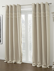 Modern Two Panels Solid Ivory Living Room Polyester Blackout Curtains Drapes
