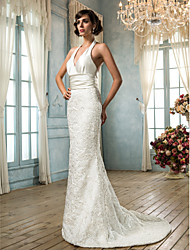 Mermaid / Trumpet V-neck Sweep / Brush Train Lace Satin Wedding Dress with Sash / Ribbon Button by LAN TING BRIDE®
