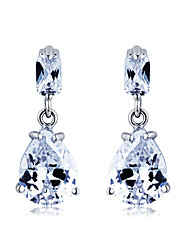 S&V Women's Graceful Waterdrop Hand Made Zircon Crystal Stud Earrings